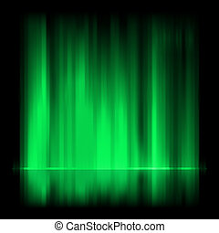 Green aurora borealis background. EPS 8