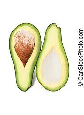 Green avocado with nucleus