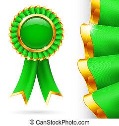 Green award ribbon - Shiny green award ribbon with golden...