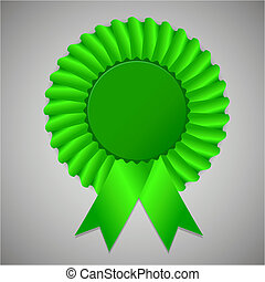 Green award ribbon rosette on gray background, vector...