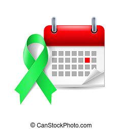 Green awareness ribbon and calendar