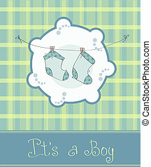 Baby boy arrival announcement card - Green Baby boy arrival ...