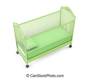 Green baby cot isolated on white background. 3d rendering