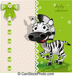 Green baby shower card with zebra