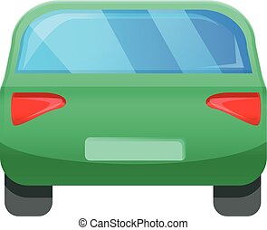 Green back car icon, cartoon style