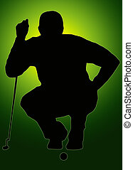 Green Back Glow Ball Sport Silhouette Golfer Sizing put up