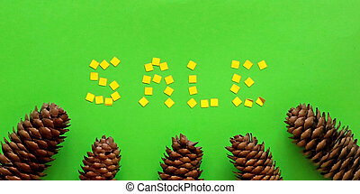 Green background and cones below and the word SALE is laid out of gold confetti. Winter and sale concept. Flat lay, top view. Banner