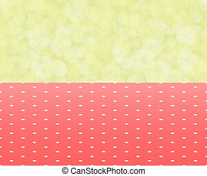 green background boken and red tablecloth with polka dots seamless