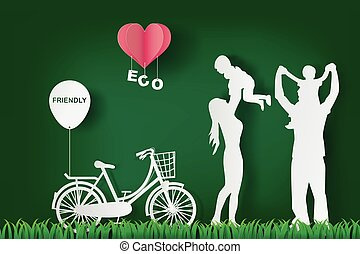 Green background happy family having fun playing in the field, eco, friendly, heart, paper art