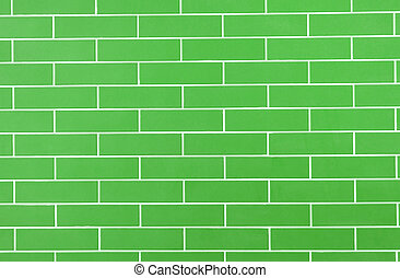 green background of brick wall texture