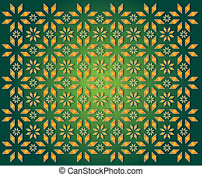 green background of golden Christmas Star