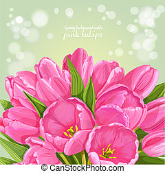 Green background of pink tulips
