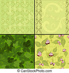 green background seamless set of