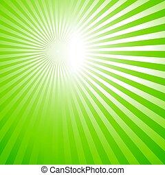 green background, sun rays