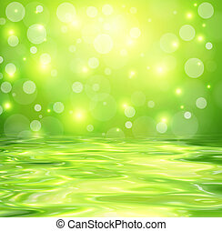 Green background with abstract lights