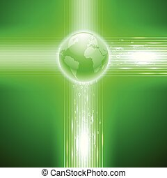 Green background with binary code to the globe.