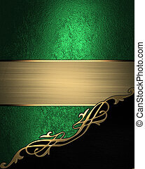 Green background with black angle and gold trim. Design...