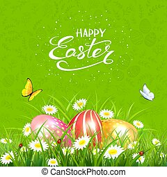 Green background with butterflies and Easter eggs in grass