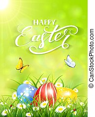 Green background with butterflies and three Easter eggs in grass