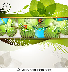 Green background with clover and drops of water