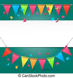Green Background with Colorful Party Flags and Empty Paper Space