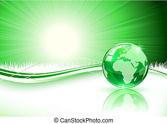 Green background with Earth