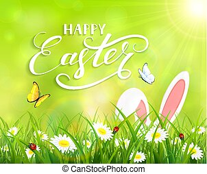 Green background with Easter bunny in grass