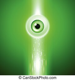 Green background with eye and binary code.
