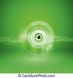 Green background with eye and circuit