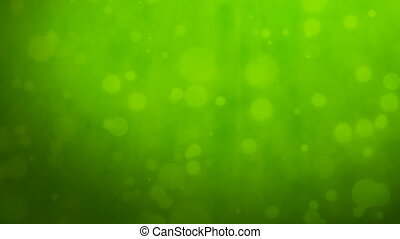 Green background with floating particles