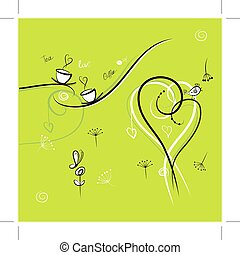 Green background with funny birds for your design