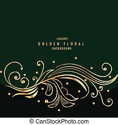 green background with golden floral design
