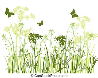green background with grass and butterflies