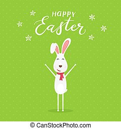 Green background with happy Easter rabbit