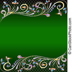 green background with jewels, golden ornament and stars -...