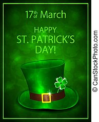 Green background with leprechauns hat