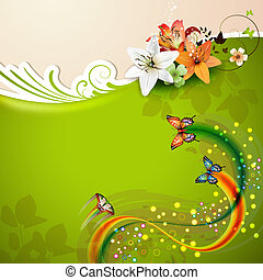 Green background with lilies