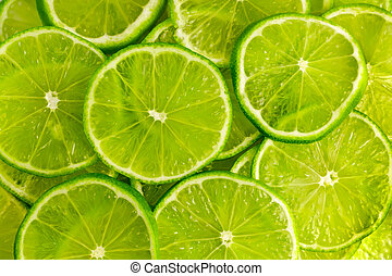 Green background with lime slices - Green background with...