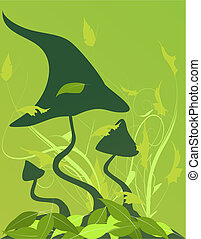 Green background with mushrooms and wood grass.
