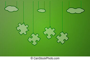 green background with puzzle