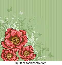 Green background with red flowers