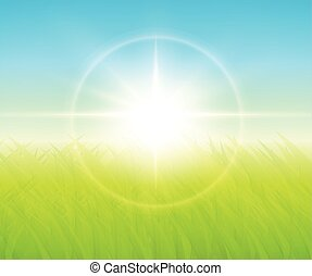 Green background with sun