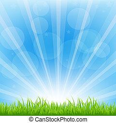 Green Background With Sunburst, Vector Illustration