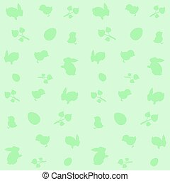Green background with symbols of Easter .