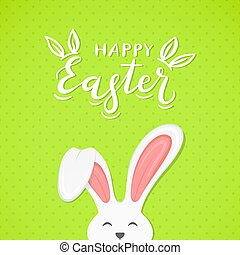 Green background with text Happy Easter and rabbit ears
