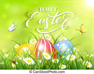 Green background with three Easter eggs in grass