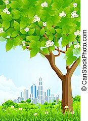 Green Background with Tree and Modern City