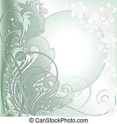green background with white frame