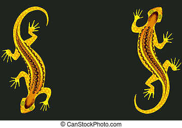 background with yellow patterned lizards