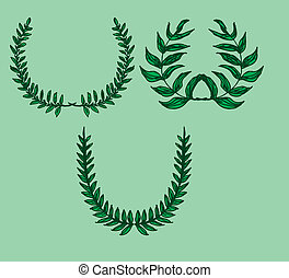 green background wreath leaf vector art